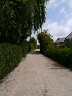 One of very few cycle paths with a loose gravel surface, very rare in The Netherlands