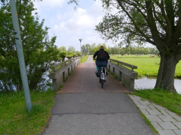 Crossing a bridge over the canal