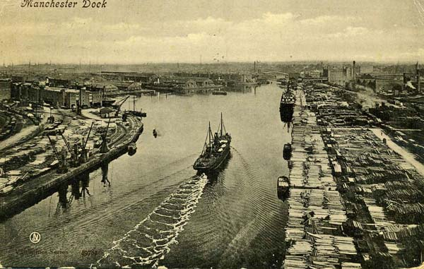 Manchester Docks with Trafford Wharf  on the right (courtesy of Our Manchester)