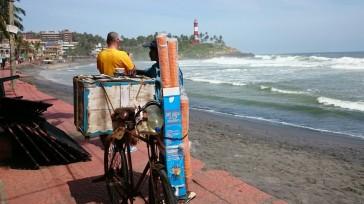 Ice cream seller at Kovalam beach