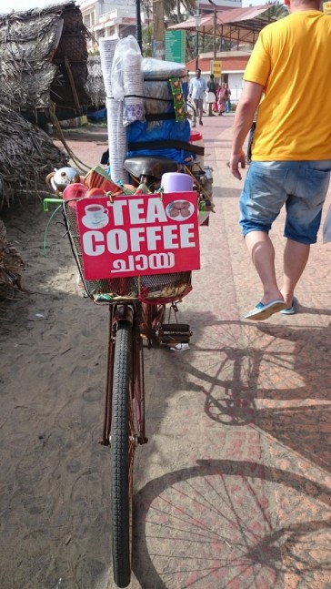 Tea and coffee seller at Kovalam beach