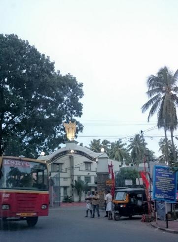 Bus and an auto rickshaw