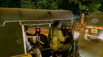 Auto rickshaws in the night