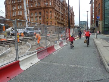 Metrolink works on Lower Mosley Street
