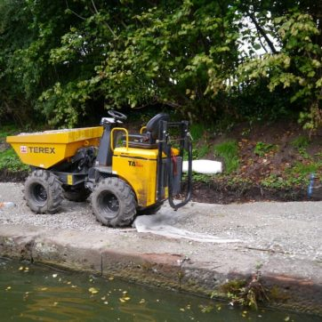 A mini dumper on the path under construction