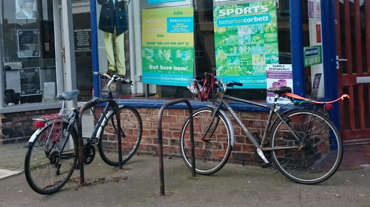 Cycle parking at a bookies