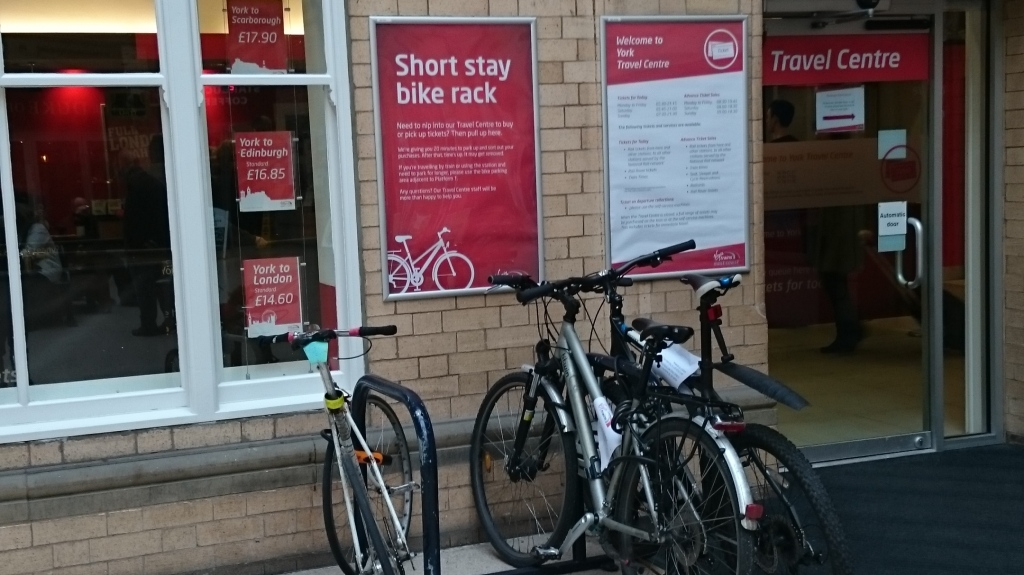 Short stay cycle parking at the ticket office in York Station