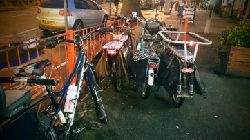 The bikes parked as we stop off for ice cream on the way home, while the football traffic dissipates