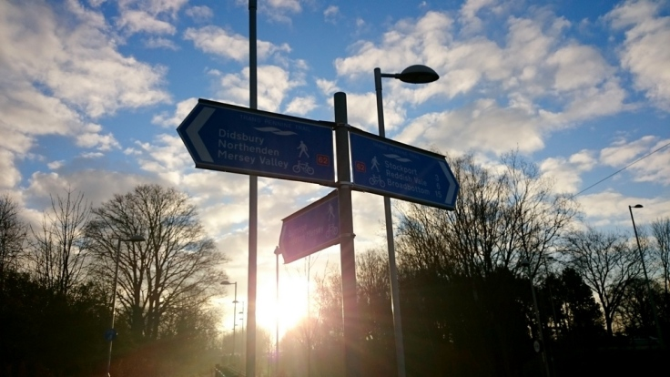 Signpost after East Didsbury stop