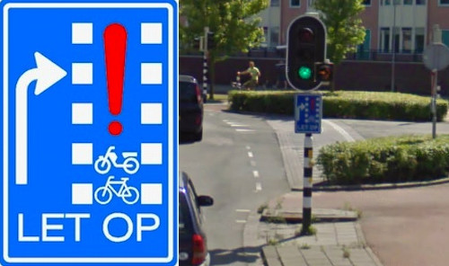 """LET OP"" / ""LOOK OUT"" sign in The Netherlands courtesy of Pedestrianise London blog"
