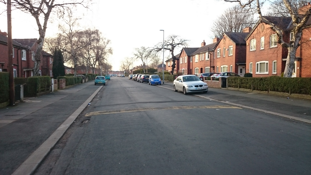 Wide road, but lots of pavement parking