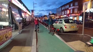 New segregated cycleway on Wilmslow Road, Rusholme - This is what the A56 should have