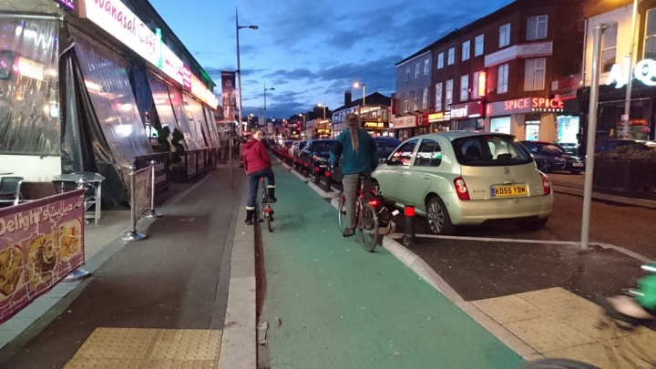 New segregated cycleway on Wilmslow Road, Rusholme, what the A56 should have