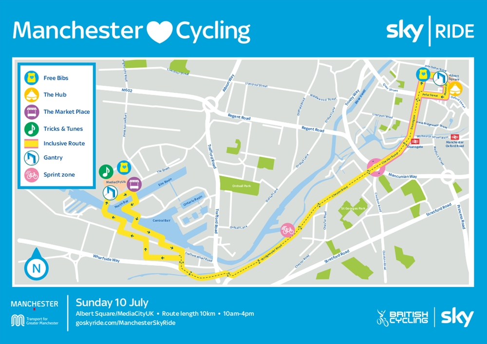 Manchester Sky Ride map