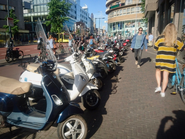 Huge number of mopeds parked on the street on Vredenburg