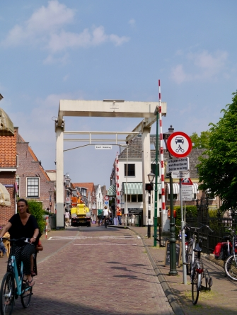 Crossing the bridge in Maarssen