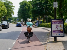 Leaving Breukelen, lady on bike with dog
