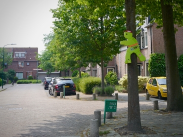 Residential streets with slow sign